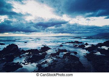 coucher soleil, hawaien