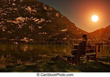 coucher soleil, homme, -, lac, vue