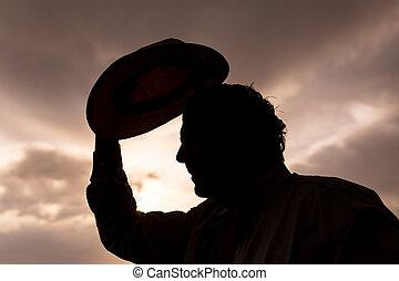 coucher soleil, homme, silhouette, fond, chapeau