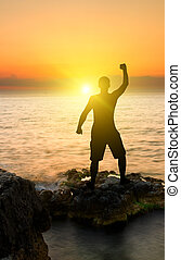 coucher soleil, homme, silhouette, fond, océan