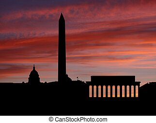 coucher soleil, horizon, washington dc, illustration
