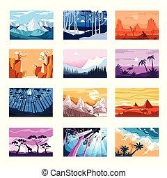 coucher soleil, icônes, montagnes, plage, isolé, nature, paysages, nuit