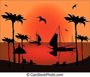 coucher soleil, illustration, au-dessus, mer, bateau