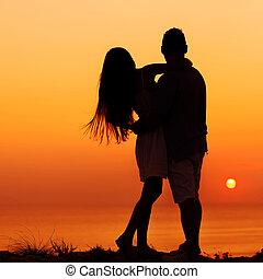 coucher soleil, image, amour, deux personnes