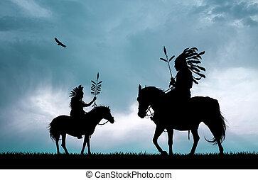 coucher soleil, indien natif, américain
