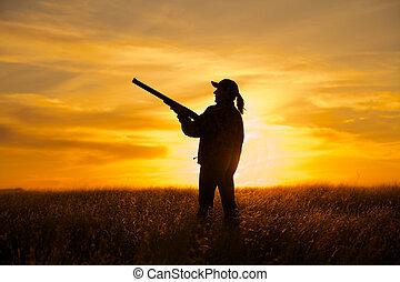 coucher soleil, jeu, femme, chasseur, haut pays
