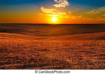 coucher soleil, kansas, collines silex