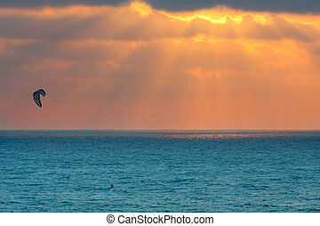 coucher soleil, kitesurfer, méditerranéen, israel., mer