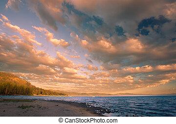 coucher soleil, lac tahoe