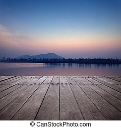 coucher soleil, lac, vue