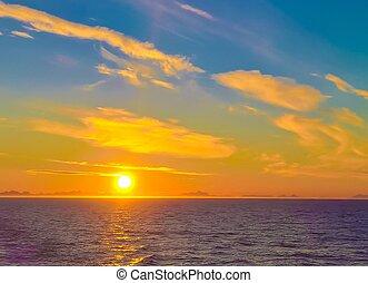 coucher soleil lever soleil, sur, les, mer, et, lofoten, archipel, depuis, les, moskenes, -, bodo, ferry-boat, norvège