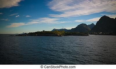 coucher soleil lever soleil, sur, les, mer, et, lofoten, archipelfgo, depuis, les, moskenes, -, bodo, ferry-boat, norvège