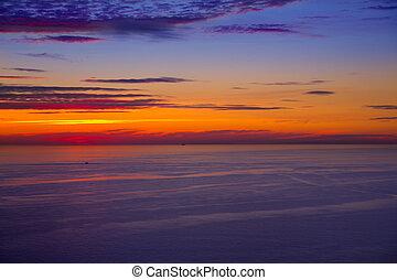 coucher soleil, levers de soleil, sur, mer méditerranée