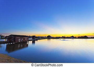 coucher soleil, long, les, étang
