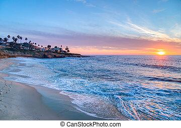 coucher soleil, magnifique, jolla, californie