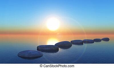coucher soleil, marchant pierres, océan, 3d