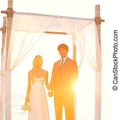 coucher soleil, mariage