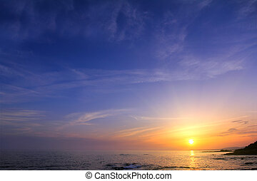 coucher soleil, mer, beau, sur