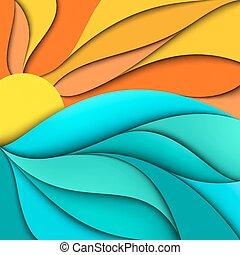 Coucher soleil, mer, Levers de Soleil, fond, vagues