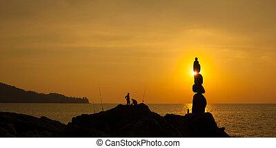 coucher soleil, mer, photographie