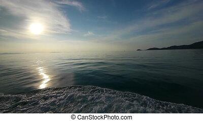 coucher soleil, mer, sous
