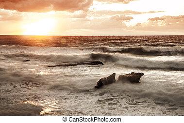 coucher soleil, mer, sur