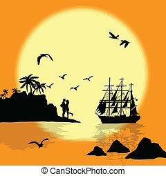 coucher soleil, mer