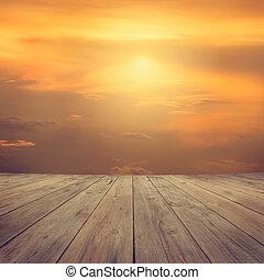 coucher soleil, mi air, vue, depuis, bois, plate-forme
