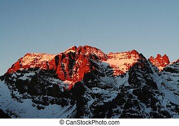 coucher soleil, montagne