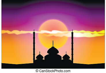 coucher soleil, mosquées, silhouette