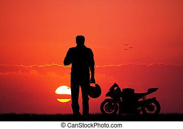 coucher soleil, moto, homme