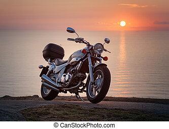 coucher soleil, moto