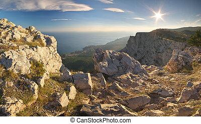 coucher soleil, mountain.