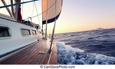 coucher soleil, nautisme