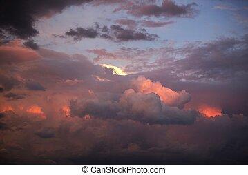 coucher soleil, nuages