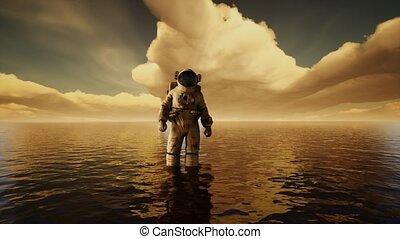 coucher soleil, nuages, sous, astronaute, mer