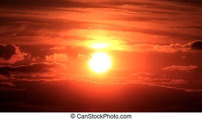 coucher soleil, nuageux