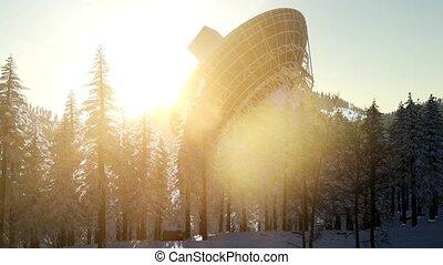coucher soleil, observatoire, télescope radio, forêt