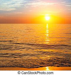 coucher soleil océan, composition, nature