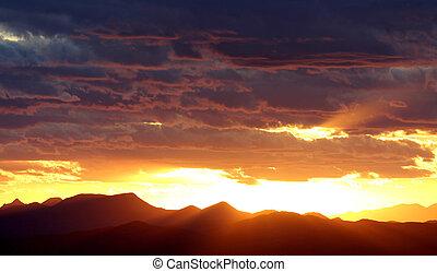 coucher soleil, occidental
