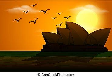 coucher soleil, opéra, scène, silhouette