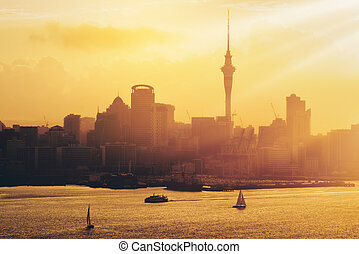 coucher soleil or, à, auckland, ville, nouveau, zealand.