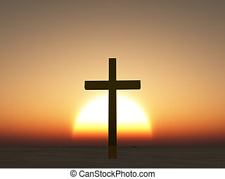 Coucher soleil, ou, Levers de Soleil, croix