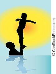 coucher soleil, père, jouer, fils