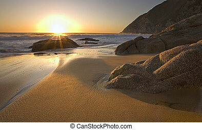 coucher soleil, pacifica, californie