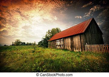 coucher soleil, par, une, vieux, grange