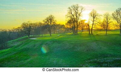 coucher soleil, parc, chronocinématographie, panoramique, printemps
