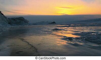 coucher soleil, paysage hiver, lac