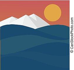 coucher soleil, paysage, mer