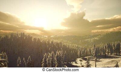 coucher soleil, paysage, montagne, hiver, brumeux